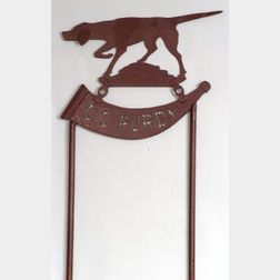 Painted Sheet Iron Sign with Hunting Dog and Bugle