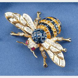 18kt Gold, Sapphire, and Diamond Bee Brooch
