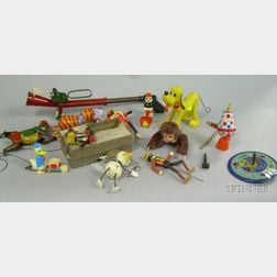 Small Group of Plastic, Tin, and Wooden Toys