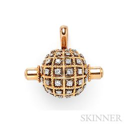 18kt Rose Gold and Diamond Pendant Watch, Sterle