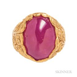 High-karat Gold and Ruby Ring