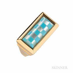 18kt Gold and Turquoise and Mother-of-pearl Inlay Ring