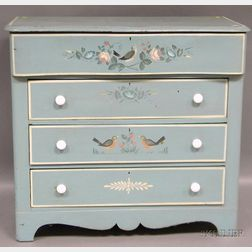 Martha and Ralph Cahoon Polychrome Painted and Decorated Pine Serpentine Four-drawer   Bureau