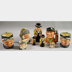 Six Royal Doulton Ceramic Character Jugs and Three Graduated Royal Doulton Ceramic   Winston Churchill Toby Jugs