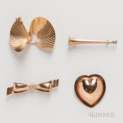 Four Gold Brooches