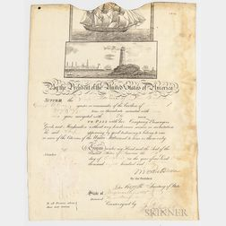 Ship's Pass for the Adeline   of New Bedford, Signed by Martin Van Buren