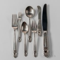 "International Silver Co. ""Royal Danish"" Pattern Sterling Silver Flatware Service"