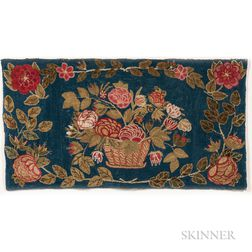 Yarn-sewn Rug with Basket of Flowers