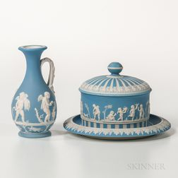 Two Wedgwood Light Blue Jasper Dip Items