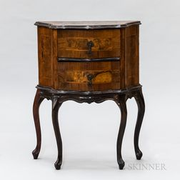 Diminutive Italian Rococo Inlaid Walnut Veneer Commode
