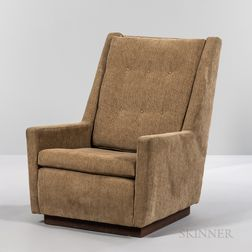 High-back Lounge Chair in the Style of Harvey Probber on a Walnut Plinth