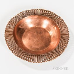 Hector Aguilar (Mexican, 1905-1986) Hammered Copper Bowl with Scalloped Edge