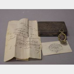 Small Victorian Silver Presentation Box with Photograph Locket.