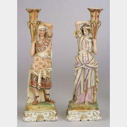 Pair of Paris Porcelain Figural Candlesticks