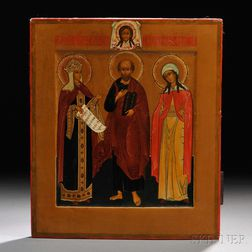 Russian Icon of St. Olga, Prophet Moses, and St. Agatha