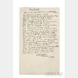 Shackleton, Ernest (1874-1922) Autograph Poem Signed, 12 November 1907, Two Ways