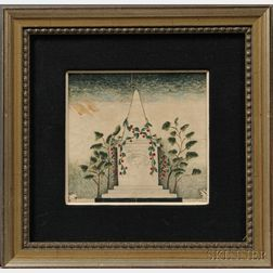 Alexander Hamilton Emmons (American, 1818-?)    Small Watercolor Memorial