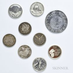Eight Silver Rounds and Morgan Dollars and a Large Cast Pewter Pine Tree Shilling