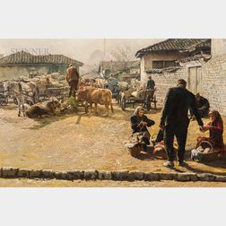 Clark Hulings (American, 1922-2011)      Market-Skopje, Yugoslavia