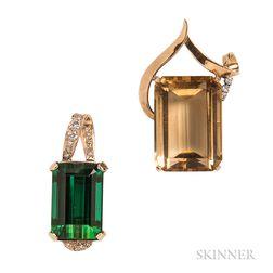 Two Gold Gem-set Pendants