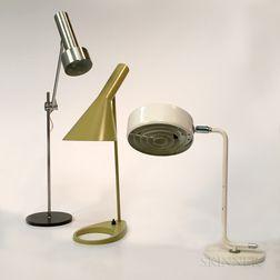 """Arne Jacobsen """"AJ"""" for Louis Poulsen, Atelje Lyktan for Ahus, and a Steel Desk Lamp"""