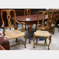 Queen Anne Style Cherry Dining Table and a Set of Eight Provincial Baroque-style Walnut Dining Chairs