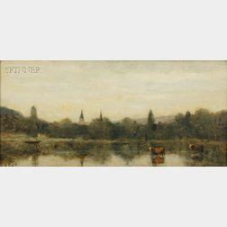 Jean-Baptiste-Camille Corot (French, 1796-1875)      Bords d'une riviere avec deux clochers emergeant des arbres