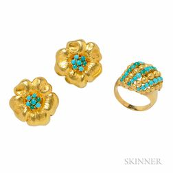 18kt Gold and Turquoise Earclips and Ring