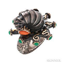 Sterling Silver, Gold, Chrysoprase, and Coral Ring, Sabine Klarner