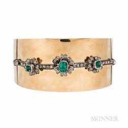 Gold, Emerald, and Diamond Bracelet