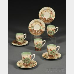 Clarice Cliff Bizarre Ware Cabbage Flower Pattern Set of Five Demitasse Cups and Saucers
