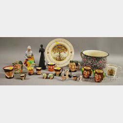 Lot of Royal Doulton and Other Ceramic Character Jugs, Figures, and Collectibles