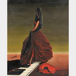 Jorge Noceda Sanchez (Dominican/American, 1931-1987)      Surrealist Woman on Piano