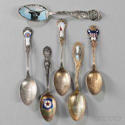 Six American Sterling Silver and Enamel Souvenir Spoons