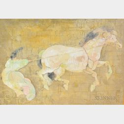 Asian/American School, Late 20th Century      Two Decorative Asian-style Paintings:  Swan