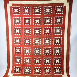 Pieced Cotton Roman Cross-pattern Quilt