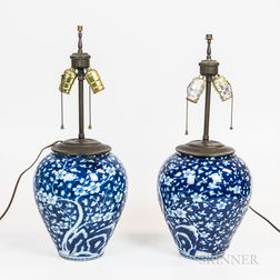 Near Pair of Chinese Blue and White Vases Mounted as Lamps