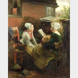 Jacob Simon Hendrik Kever (Dutch, 1854-1922)  Reading the News
