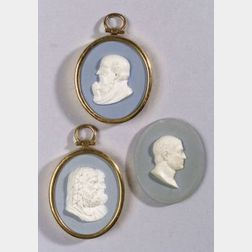 Three Wedgwood and Bentley Solid Pale Blue Jasper Oval Portrait Medallions