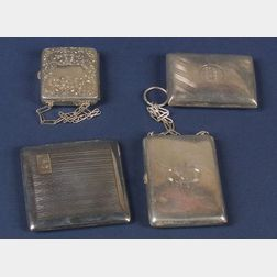 Three Sterling Cigarette Cases and a Sterling Compact