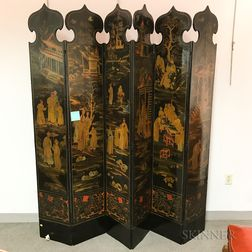 Black-lacquered and Chinoiserie-decorated Six-panel Floor Screen
