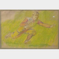 Framed Pastel on Paper, Study for the Football Match ,  by Philip Leslie Hale (American, 1865-1931)