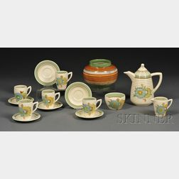 Fourteen Clarice Cliff Honey Dew Pattern Teaware Items and a Striped Vase