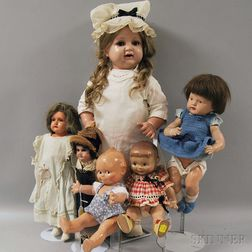 Group of Six Early Composition and Celluloid Dolls