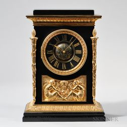 Tiffany Black Slate and Ormolu Mantel Clock