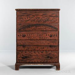 Boldly Grain-painted Pine Blanket Chest over Three Drawers