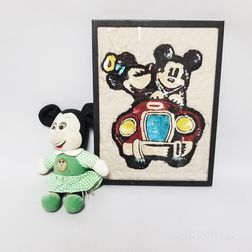 Minnie Mouse Felt Doll and a Sequined Picture of Mickey and Minnie Driving a Car.     Estimate $100-150