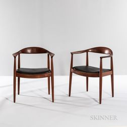 "Two Hans J. Wegner (1914-2007) for Johannes Hansen ""Model JH 501"" ""The Chair"" Armchairs"