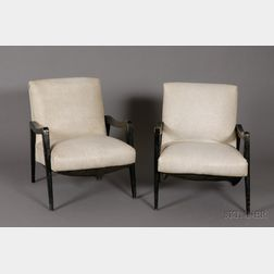 Pair of Mid-century Modern Upholstered Painted Wood Armchairs