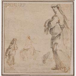 Stefano della Bella (Italian, 1610-1664)      Female Figure Studies